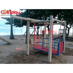 Balanço Acessível p/ Cadeirante Fabricado em Tronco de Eucalipto